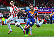 Andy Mangan breaking forward during the Sky Bet League 2 match between Cheltenham Town and Shrewsbury Town at Whaddon Road, Cheltenham, England on 25 April 2015. Photo by Alan Franklin.