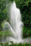 Water fountain on the Canal in Bastejkalna park, Riga, Latvia
