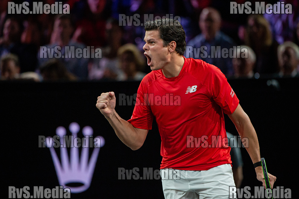 GENEVA, SWITZERLAND - SEPTEMBER 22: Milos Raonic of Team World celebrates during Day 3 of the Laver Cup 2019 at Palexpo on September 20, 2019 in Geneva, Switzerland. The Laver Cup will see six players from the rest of the World competing against their counterparts from Europe. Team World is captained by John McEnroe and Team Europe is captained by Bjorn Borg. The tournament runs from September 20-22. (Photo by Robert Hradil/RvS.Media)