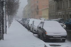 April 13, 2017 - Saint Petersburg, Russia - April 13, 2017. - Spring snowfall in St. Petersburg, Russia. (Credit Image: © Russian Look via ZUMA Wire)