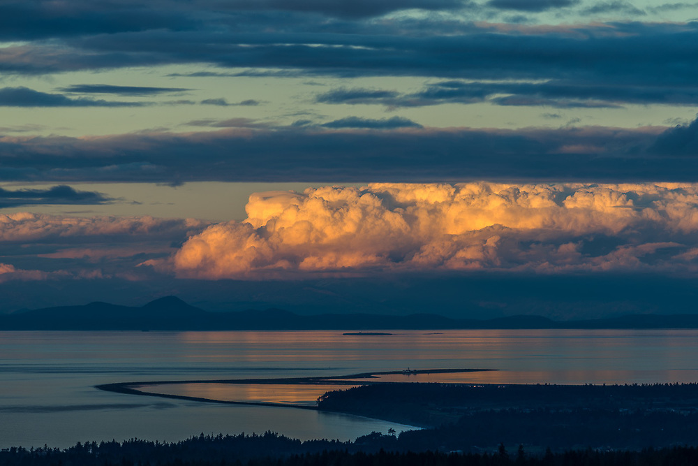 Storm clouds over the Strait of Juan de Fuca, Dungeness Spit and San Juan Islands, Salish Sea, view from the North Olympic Peninsula, Washington, USA