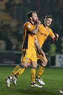 Sean Rigg of Newport county (l) celebrates after he scores his teams 2nd goal from a penalty.EFL Skybet football league two match, Newport county v Barnet at Rodney Parade in Newport, South Wales on Tuesday 25th October 2016.<br /> pic by Andrew Orchard, Andrew Orchard sports photography.