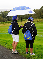 Auchterarder, Scotland, UK. 12 September 2019. Final practice day at 2019 Solheim Cup on Centenary Course at Gleneagles. Pictured; Team Europe spectators on the course. Iain Masterton/Alamy Live News