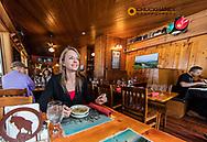 Dining at the Izaak Walton Inn in Essex, Montana, USA
