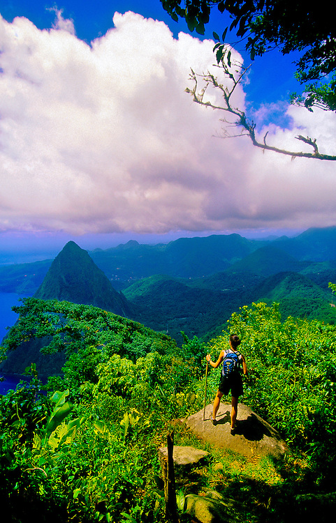 View from the top of Gros Piton (peak) with the Petit Piton in back, St. Lucia
