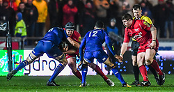 Scarlets' Ryan Elias is tackled by Leinster's Jack Conan<br /> <br /> Photographer Craig Thomas/Replay Images<br /> <br /> Guinness PRO14 Round 17 - Scarlets v Leinster - Friday 9th March 2018 - Parc Y Scarlets - Llanelli<br /> <br /> World Copyright © Replay Images . All rights reserved. info@replayimages.co.uk - http://replayimages.co.uk