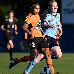 BRISBANE, AUSTRALIA - OCTOBER 30: Allira Toby of the Roar shoots on goal during the round 1 Westfield W-League match between the Brisbane Roar and Sydney FC at Spencer Park on November 5, 2016 in Brisbane, Australia. (Photo by Patrick Kearney/Brisbane Roar)