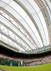 LONDON, ENGLAND - Monday, June 29, 2009: Andy Murray (GBR) under the new Centre Court roof during the Gentlemen's Singles 4th Round match on day seven of the Wimbledon Lawn Tennis Championships at the All England Lawn Tennis and Croquet Club. (Pic by David Rawcliffe/Propaganda)