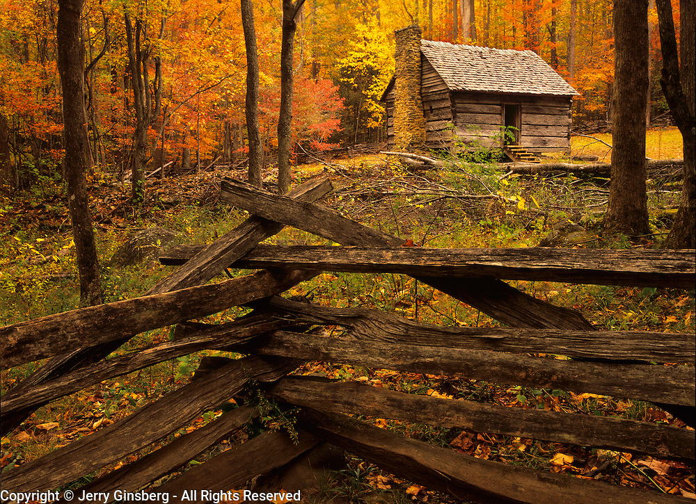 Original pioneer log cabin amidst brilliant autumn colors in Great Smoky Mountains National Park, TN.