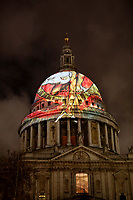 The iconic dome of St Paul's Cathedral is illuminated with William Blake's final masterpiece 'Ancient of Days ,to celebrate the artist's birthday.<br /> 27 Nov 2019