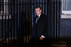 London, UK. 3 December, 2019. Emmanuel Macron, President of France, arrives for a reception for NATO leaders at 10 Downing Street on the eve of the military alliance's 70th anniversary summit at a luxury hotel near Watford.