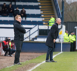Hibernian's manager Neil Lennon and Raith Rovers manager John Hughes. Raith Rovers 1 v 1 Hibernian, Scottish Championship game played 18/2/2017 at Starks Park.
