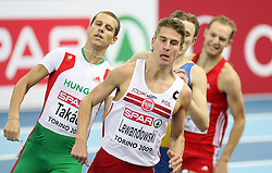 Marcin Lewandowski of Poland and (L) David Takacs of Hungary at the 1st day of  European Athletics Indoor Championships Torino 2009 (6th - 8th March), at Oval Lingotto Stadium,  Torino, Italy, on March 6, 2009. (Photo by Vid Ponikvar / Sportida)
