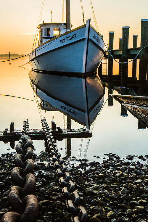 Saint Michaels Boat House dock at sunrise