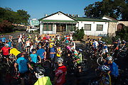 Riders gather outside of Joe T. Garcia's for the first day of the 2014 Tour de Fort Worth, an annual event hosted by Mayor Betsy Price to promote cycling within the city while also giving her a chance to connect with her constituents on July 5, 2014 in Fort Worth, Texas. (Cooper Neill for The New York Times)