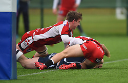 Josh Wright (Millfield School) of Bristol Rugby Academy U18 scores a try against Gloucester Rugby U18 - Mandatory by-line: Paul Knight/JMP - 11/02/2017 - RUGBY - SGS Wise Campus - Bristol, England - Bristol Academy v Gloucester Academy - Premiership Rugby Academy U18 League