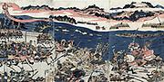 Battle of Kawanakajima, probably 4th battle in 1561, on the plains of the Chikuma River. Armies fighting.  Shuntei Katsukawa (1770-1820) Japanese artist, 1809. Archer Bow Arrow Sword Armour Pike Horsemen Raft