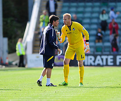 Bristol Rovers assistant manager, Darrell Clarke and Bristol Rovers' Steve Mildenhall  - Photo mandatory by-line: Dougie Allward/JMP - Tel: Mobile: 07966 386802 07/09/2013 - SPORT - FOOTBALL -  Home Park - Plymouth - Plymouth Argyle V Bristol Rovers - Sky Bet League Two