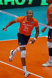 10-08-2019 NED: FIVB Tokyo Volleyball Qualification 2019 / Belgium - Netherlands, Rotterdam<br /> Third match pool B in hall Ahoy between Belgium vs. Netherlands (0-3) for one Olympic ticket / Nimir Abdelaziz #14 of Netherlands