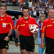 Referee's Aleksandar STAVREV (C) during their UEFA Champions League third qualifying round, second leg, soccer match Trabzonspor between Benfica at the Ataturk Olimpiyat Stadium at İstanbul Turkey on Wednesday, 03 August 2011. Photo by TURKPIX