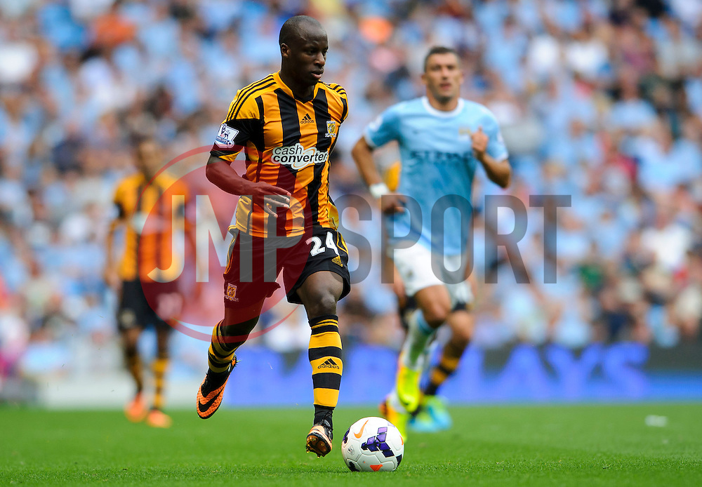 Hull Forward Sone Aluko (ENG) in action during the second half of the match - Photo mandatory by-line: Rogan Thomson/JMP - Tel: Mobile: 07966 386802 31/08/2013 - SPORT - FOOTBALL - Etihad Stadium, Manchester - Manchester City v Hull City Tigers - Barclays Premier League.