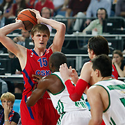 CSKA Moscow's Andrei Kirilenko (L) during their Euroleague Final Four semi final Game 1 basketball match CSKA Moscow's between Panathinaikos at the Sinan Erdem Arena in Istanbul at Turkey on Friday, May, 11, 2012. Photo by TURKPIX