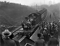 Football fans / Supporters arrive at the station for the match : West Bromwich Albion Hawthorns Halt G.W.R train Station is Opened on Christmas day 1931 for the Footabll match.Credit : Colorsport