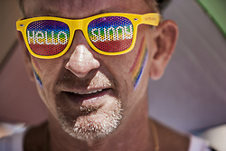July 1, 2017 - Madrid, Madrid, Spain - Participant of the World Pride 2017 in Madrid with rainbow colors in his face, on July 1, 2017. (Credit Image: © Celestino Arce/NurPhoto via ZUMA Press)