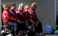 Fotball<br /> 24.02.10<br /> La Manga<br /> Womans U23 National Tournament<br /> Norge - England 1 - 0<br /> Norges trener benk , Reidun Seth (3R) , Gøril Kringen (2R)<br /> og Jarl Torske (R)<br /> Foto : Astrid M. Nordhaug