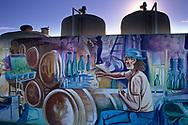 Mural and wine tanks at Gundlach Bundschu Winery, Sonoma County, California