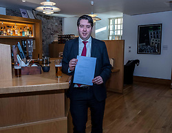 Pictured:  Neil Bibby, MSP, and his Bill<br /><br />Neil Bibby MSP will be joined by representatives from the Scottish Licensed Trade Association and the Campaign for Real Ale as he introduces his Tied Pubs Member's Bill. Lessons laernt from similar legislation in England have been taken into account in the Scottish Bill.<br /><br /><br />Ger Harley | EEm 4 February 2020