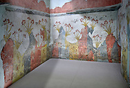 The Spring fresco Minoan Wall painting from Akrotiri, National archaeological Musuem Athens Minoan artefact. 17th-16th cent BC.<br /> <br /> The Minoan 'Spring Fresco' is the only fresco found in situ at Akritiri covering three walls. It depicts the rocky Theran lanscape of Santorini before the volcanic eruption: clusetrs of red lilies with yellow stems dominate the red and grey volcanic rock formations. Swallows swoop above, either alone or in pairs animating the scene and announcing natures annual rebirth of Spring.<br /> <br /> The Spring fresco has an opulent use of colours and a lively movement bu the lilies swaying in the wind as well as the swallows at play. Room D2 Complex D. .<br /> <br /> If you prefer to buy from our ALAMY PHOTO LIBRARY  Collection visit : https://www.alamy.com/portfolio/paul-williams-funkystock/minoan-art-artefacts.html . Type -   Athens    - into the LOWER SEARCH WITHIN GALLERY box. Refine search by adding background colour, place, museum etc<br /> <br /> Visit our MINOAN ART PHOTO COLLECTIONS for more photos to download  as wall art prints https://funkystock.photoshelter.com/gallery-collection/Ancient-Minoans-Art-Artefacts-Antiquities-Historic-Places-Pictures-Images-of/C0000ricT2SU_M9w