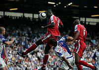 Photo: Peter Phillips.<br /> Blackburn Rovers v Fulham. The Barclays Premiership.<br /> 20/08/2005.<br /> Pappa Bouba Diop crashes a header goalward