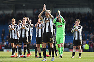 The Magpies led by Notts County forward Jonathan Stead (30) applaud the County supporters during the EFL Sky Bet League 2 match between Chesterfield and Notts County at the b2net stadium, Chesterfield, England on 25 March 2018. Picture by Jon Hobley.