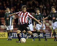 Photo. Jed Wee.<br /> Sunderland v Plymouth Argyle, Coca Cola Championship, 15/03/2005.<br /> Sunderland's Marcus Stewart converts the penalty he earned.