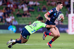 March 1, 2019 - Victoria, VIC, U.S. - MELBOURNE, AUSTRALIA - MARCH 01: Josh Ioane (15) of the Highlanders attempts to tackle Jack Maddocks (14) of the Melbourne Rebels at The Super Rugby match between Melbourne Rebels and Highlanders on March 01, 2019 at AAMI Park, VIC. (Photo by Speed Media/Icon Sportswire) (Credit Image: © Speed Media/Icon SMI via ZUMA Press)