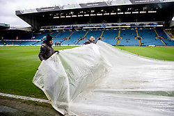 The groundsman clear water from the pitch before the match - Mandatory by-line: Daniel Chesterton/JMP - 15/02/2020 - FOOTBALL - Elland Road - Leeds, England - Leeds United v Bristol City - Sky Bet Championship
