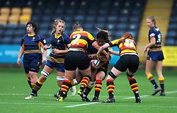 Emma Haries of Worcester Valkyries is tackled by  Sian Hobday of Richmond Women- Mandatory by-line: Nizaam Jones/JMP - 22/09/2018 - RUGBY - Sixways Stadium - Worcester, England - Worcester Valkyries v Richmond Women - Tyrrells Premier 15s