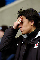 Photo. Jed Wee.<br /> Bolton Wanderers v Fulham, FA Cup 5th Round, 19/02/2005.<br /> Fulham manager Chris Coleman has problems as his team go into the break 1-0 down.
