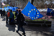 On the day that MPs in Parliament vote on a possible delay on Article 50 on EU Brexit negotiations by Prime Minister Theresa May, pro-EU activists protest outside the House of Commons, on 14th March 2019, in Westminster, London, England.