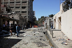 KABUL, Sept. 6, 2016 (Xinhua) -- Photo taken on Sept. 6, 2016 shows the site of car bombing in Kabul, capital of Afghanistan. One civilian and four attackers were killed in a car bombing and ensuing gunfight on an international aid agency office in central Kabul, the interior ministry said on Tuesday. (Xinhua/Rahmat Alizadah).****Authorized by ytfs* (Credit Image: © Rahmat Alizadah/Xinhua via ZUMA Wire)