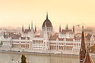 Dawn view of the Hungarian Parliament Building on the banks of the Danube River in Budapest, the capital of Hungary.