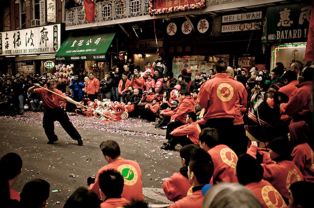 Chinese martial art demonstration by the Southern Praying Mantis during the celebration of the Chinese New Year in Chinatown, New York, 2011.