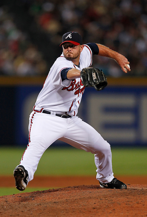 ATLANTA - AUGUST 7:  Closer Billy Wagner #13 of the Atlanta Braves throws a pitch in the ninth inning during the game against the San Francisco Giants at Turner Field on August 7, 2010 in Atlanta, Georgia.  The Braves beat the Giants 3-0.  (Photo by Mike Zarrilli/Getty Images)