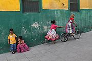 Children are photographed playing in Stone Town in Zanzibar, Tanzania.