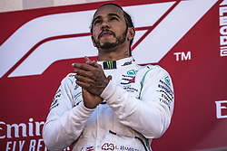 May 12, 2019 - Barcelona, Catalonia, Spain - LEWIS HAMILTON (GBR) from team Mercedes celebrates his victory of the Spanish GP on the podium at the Circuit de Barcelona - Catalunya (Credit Image: © Matthias Oesterle/ZUMA Wire)