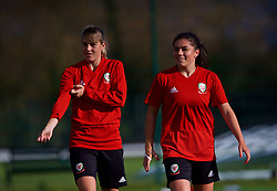 NEWPORT, WALES - Tuesday, November 6, 2018: Wales' Gemma Evans and Ffion Morgan during a training session at Dragon Park ahead of two games against Portugal. (Pic by Paul Greenwood/Propaganda)