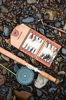 Leather fly book and spey rod still life. North Fork of the Nehalem River, Oregon.
