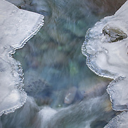 Ice covered Rocky Brook, cold and clear flowing into the Dosewallips River