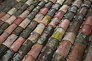 Roof tiles at Fontfroide Abbey near Narbonne, France. Fontfroide Abbey is a former Cistercian monastery in France, situated 15 kilometers south-west of Narbonne. It was founded in 1093 by Aimery I, Viscount of Narbonne, but remained poor and obscure, and needed to be refounded by Ermengarde, Viscountess of Narbonne. The abbey fought together with Pope Innocent III against the heretical doctrine of the Cathars who lived in the region. It was dissolved in 1791 in the course of the French Revolution. The premises, which are of very great architectural interest, passed into private hands in 1908, when the artists Gustave and Madeleine Fayet dAndoque bought it to protect the fabric of the buildings from an American collector of sculpture. They restored it over a number of years and used it as a centre for artistic projects. It still remains in private hands. Today it is open to paying guests.